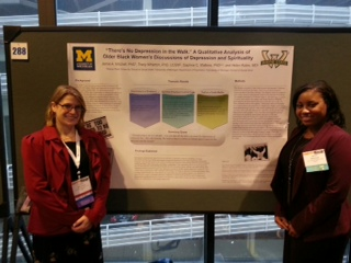 Dr. Wharton (l) and Dr. Mitchell (r) presenting their research at the Gerontological Society of America (GSA) Conference in New Orleans, LA November 2013.