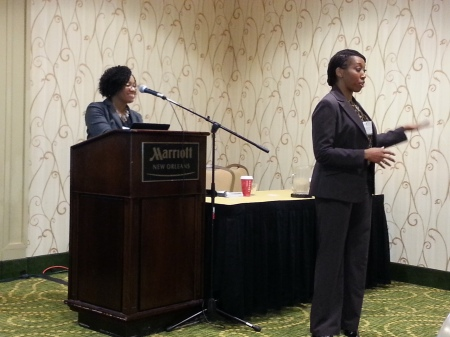 Dr. Mitchell (l) and Dr. Watkins (r) answer questions during their symposium with Dr. Tracy Wharton (not pictured) at the Society for Social Work Research (SSWR) Conference in New Orleans, LA, January 2015.
