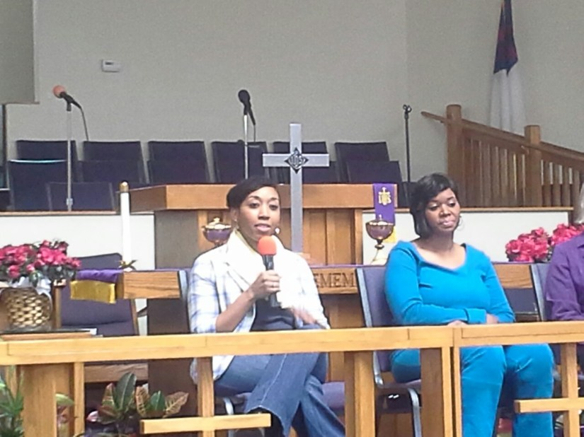 Dr. Watkins on a panel talking about mental health stigma in the black community at the community health fair on March 23, 2013.