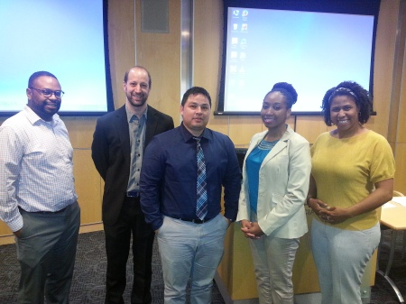(l-r) Drs. Desmond Patton, Andrew Smiler, David Cordova, Daphne C. Watkins (moderator), and Stephanie Cook pose for a picture after the October 2nd panel on gender, sexuality, and youth at the UM-SSW.
